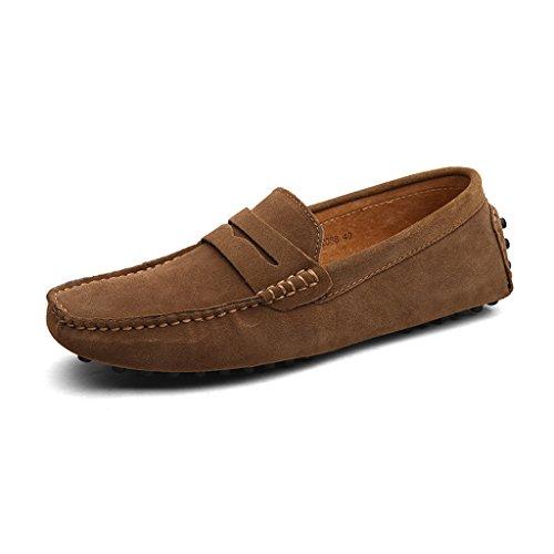 Eagsouni Herren Mokassin Bootsschuhe Wildleder Loafers Schuhe Flache Fahren Halbschuhe Slippers (Wildleder-bootsschuhe)