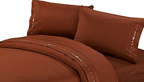 HiEnd Accents Embroidered Navajo Sheet Set, Full, Copper