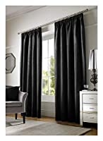 "Plain Chenille Lined Black 66"" X 90"" - 168CM X 229CM Pencil Pleat CURTAINS from Curtains"