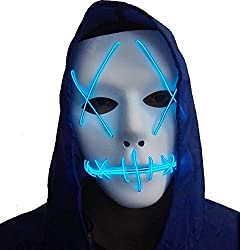 Halloween Mask Cosplay LED Glow Scary EL Wire Light Up Grin Masks for Festival Parties Costume (Blue) by A-MORE