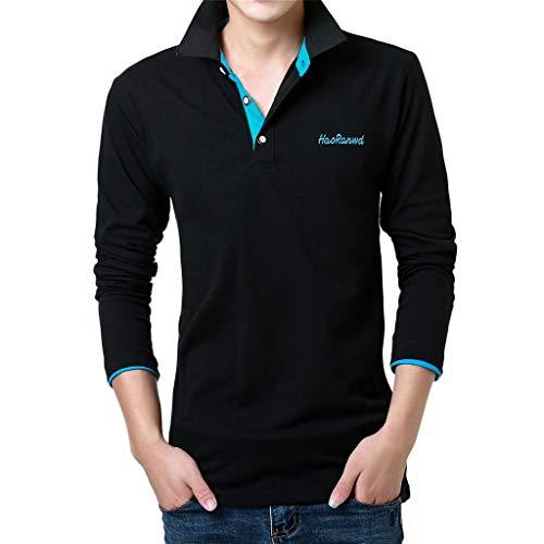 Luckycat Herren Baumwolle Polo Pique Polo Shirt Kurzarm mit Polokragen Herren Poloshirt Kurzarm Patchwork Sommer T-Shirt Men's Polo Shirt Poloshirt Herren Kurzarm Basic T-Shirt Freizeit Polohemd -