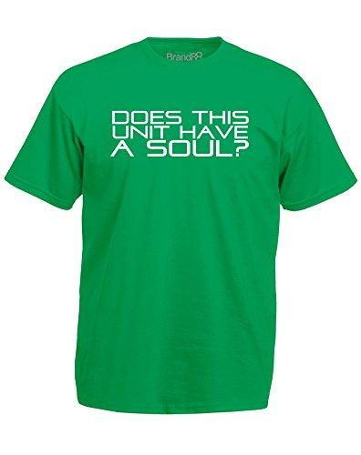Brand88 - Does This Unit Have A Soul?, Mann Gedruckt T-Shirt Grün/Weiß