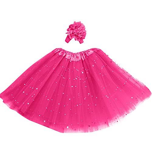 (Kinder Mädchen Petticoat Rock, Paillette Kinder Stars Tutu Print Rock Pettiskirt Haarband Tutu Rock Dancewear (4T-10T) Ostern (Hot Pink,One Size))