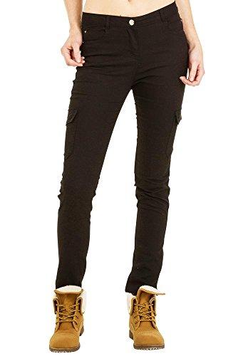Pantalon de Cargo/Combat slim/stretch mi- taille - Noir 36