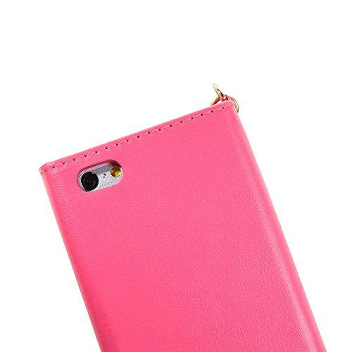 iPhone Case Cover Normallack-Fall V Art-Verschluss-Umschlag-Muster PU-lederner Mappen-Kasten mit Handbügel für IPhone 6S 6 4.7 Zoll ( Color : Pink , Size : IPhone 6S 6 ) Pink