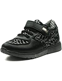 MS010 Miss Sixty Laceup Shoe Sporty Girls in Black & Silver Trim