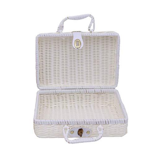 Demarkt Retro handgewebte rechteckige Wicker Handtasche, Simulation Rattan Woven Koffer Vintage Koffer Aufbewahrungsbox Picknick Aufbewahrungsbox Size 30 * 21 * 13CM -