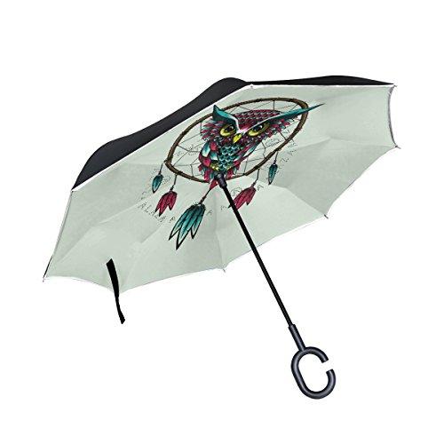 jstel doble capa invertida Atrapasueños búho paraguas coches Reverse resistente al viento lluvia paraguas para coche al aire libre con asa en forma de C