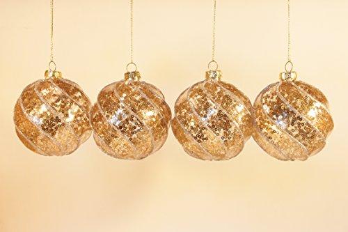 Gisela graham: set di 4rotondo 8cm palle di natale in vetro da appendere–new for christmas 2016, vetro, bronze & silver spiral