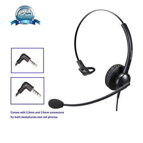 2,5mm Telefon Headset Kopfhörer 2 5 mm klinke Call Center Headset mit Noise Cancelling Mikrofon für Cisco Polycom Grandstream Panasonic Plus 3,5mm Klinke für Handy iPhone Samsung (Blackberry Plantronics)
