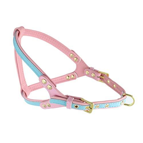MqbY Hundehalsband/Traction Doppelschichtiges PU und Echtleder-Geschirr mit verstellbarem Halsband für mittelgroße Hunde, perfekt für tägliches Training, Laufen