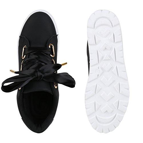 1a1a4c31824017 Damen Plateau Sneakers Sneaker Metallic Cap Lack Schuhe Blumen ...