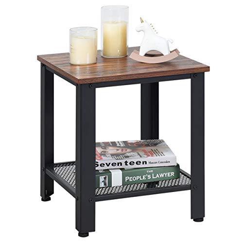 COSTWAY Beistelltisch 2 Ebenen, Sofatisch mit Metallgestell, Kaffeetisch für Wohnzimmer Balkon Flur, Telefontisch im Industriedesign, Nachttisch fürs Bett (braun und schwarz)