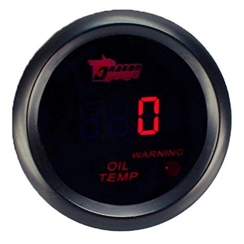 Supmico 12V Auto 52mm Universale Digitale led rosso display leggero Indicatore temperatura olio Calibro