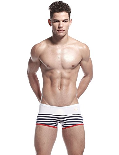 SEOBEAN Herren Low-Rise Boxer Brief Slip Trunks Unterwäsche 2157 Weiß