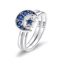 Bijoux Blu Blue Moon Authentic 925 Sterling Silver Blooming Moon and Star Blue CZ Female Rings for Women Sterling Silver Jewellery