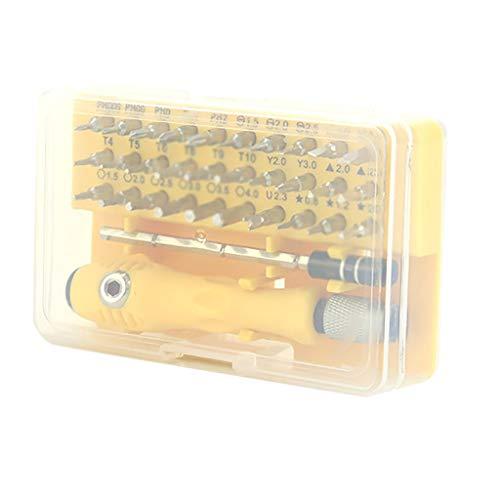 Schraubendreher-Set Reparatur-Werkzeug-Set - 32 in 1 Kleiner Mulit-Schraubendreher-Bits Set magnetischer Präzisions-Schraubendreher für Handy, Laptop, Computer, Uhren, Brillen, Geräte reparieren, gelb (Computer-magnetischen Schraubendreher)