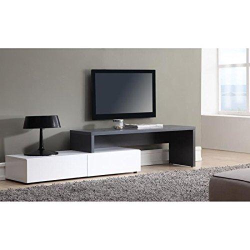 FLOYD Meuble TV extensible 120 a 233 cm - Blanc et gris