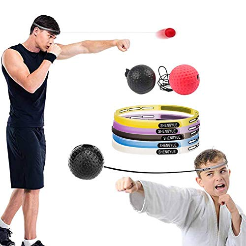 Chengstore Box-Reflex-Kampfball, 2 Schwierigkeitsgrade Boxball mit Kopfband Kopf-montiert Speed Ball Reaction Ball Boxing Reflexball für Koordination Fähigkeit Training Entlüftung Dekompression (2-ball-kopf)