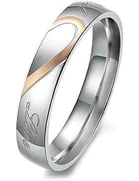 MunkiMix Edelstahl Band Ring Herz Valentine Lieben Paar Hochzeit Engagement Verlobungsringe Verlobung Damen