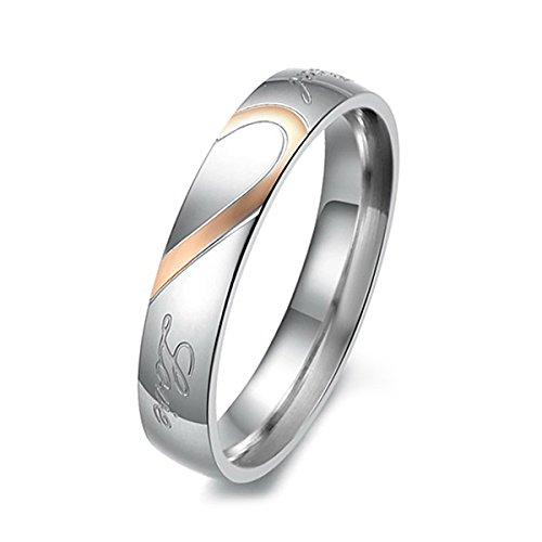 MunkiMix Acero Inoxidable Banda Venda Anillo Ring Corazón Heart San valentin Amor Love Pareja Alianzas Boda Compromiso Promesa Talla Tamaño 27 Mujer