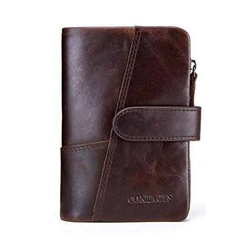 LCDY Brieftasche für Herren, Kurze Brieftasche Aus Leder, Aktiver Münzfach Mit Reißverschluss, Nähte,Brown,13 * 9.5 * 3cm