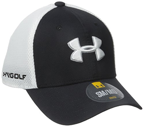 2016 Junior Under Armour Classic Mesh Hat Structured Curved Stretch Fit Boys Golf Cap Black/White Small/Medium (Visor Armour Under Mesh)