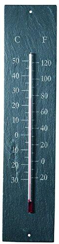 Esschert Thermometer aus Schiefer, rechteckig, grau, LS008