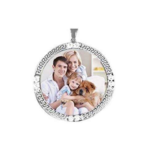 Yanday Benutzerdefinierte Bild Halskette Runde Anhänger Halskette eingelegten Edelsteinen Geburtstagsgeschenk(versilberter Boden 18)