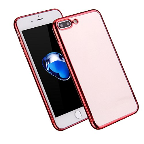 Qingsun Souple TPU Silicone Cover pour iPhone 7Plus Soft Clear TPU Case Cover Housse Souple de Protection Coque pour Iphone 7 plus Mince Léger Flexible Anti Scratch Shock Anti Rayure Anti Choc, Argent Rouge