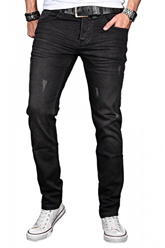 A. Salvarini Herren Designer Jeans Hose Stretch Basic Jeanshose Regular Slim [AS044 - W30 L30]
