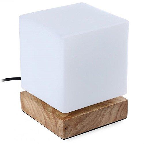 icase4u® Moderne Einfachheit Holz Nachttischlampen Table Lamp Tischlampe Decorativ...