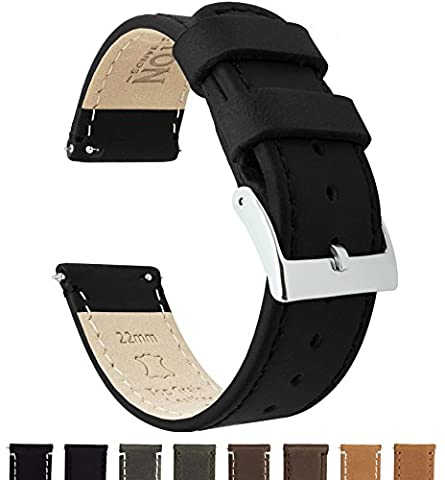 BARTON Quick Release Top Grain Leather Watch Straps - Choose Colour & Width (18mm, 20mm or 22mm) - Black 18mm Watch