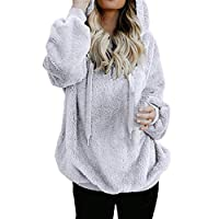 DEELIN Women Solid Warm Fluffy Hoodie Sweatshirt Ladies Hooded Pullover Jumper Autumn Winter Long Sleeve Tops Warm Coat (M, X-White)