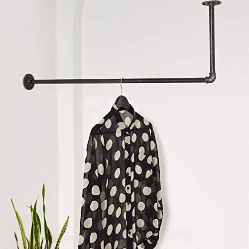 Various Garderobe L-Form Industrie-Design - 80 x 20 cm, nach Links o. rechts - Wand-Kleiderstange deckenbefestigt - schwarz, Metall, stabil