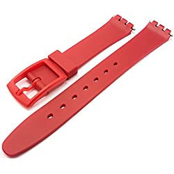 Swatch Style Red Resin Rubber Watch Strap Band 14mm