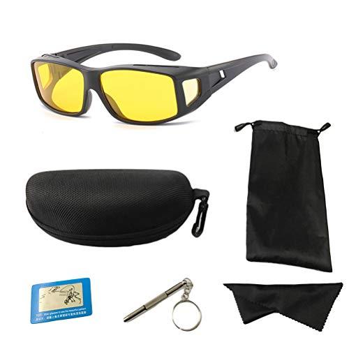 Schimer Nachtsichtbrille zum Autofahren, Anti-Glanz Nachtfahrbrille, Überzieh Nachtsichtbrille Sonnenbrille Unisex Brillenträger für Autofahrer, für Brillenträger, Getönte polarisierende Gläser