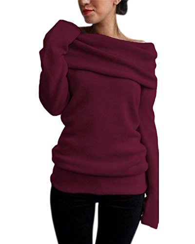 Style Dome Pull Femme Sexy Grande Taille Pull Oversize Femme Chaud avec Grand col Hauts Femme Chic Hiver Tops Femme Chic Chaud Pas Cher