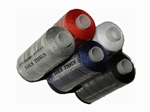 ILC MERCERIE PARADIS 5 Bobines De Fil A Coudre 100% Polyester 500 Mètres Noir, Marine, Gris, Blanc, Rouge