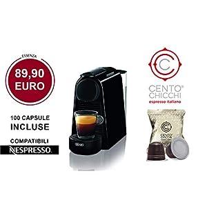 PROMO: CAFFE' CENTOCHICCHI® PORTOFINO 100 Capsule Compatibile Nespresso® + Nespresso® Essenza Mini De'Longhi® EN85.L…