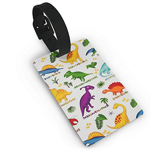 Ewtretr Gepäckanhänger for Travel Dinosaur Colorful Zoo Luggage Tags Suitcase Luggage Tags Travel Accessories Baggage Name Tags
