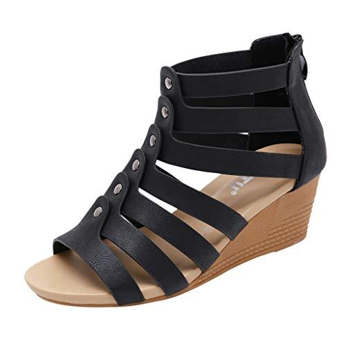 ESAILQ 2019 Sandalias de Verano para Mujeres Zapatos - Sandalias Romanas Huecas para niñas Sandalias Impermeables Sandalias de tacón Alto con tacón Abierto - Sandalias Romanas