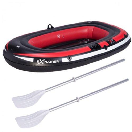 Sportliches aufblasbares Schlauchboot inkl. 2 Paddel schwarz / rot Wassersport Kanu Kajak Boot NEU