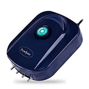 Powkoo Ultra Quiet High Efficient Adjustable Aquarium Air Pump 12W 2 x 270L/H Fish Tank Oxygen Air Pump 2 Outlets (2…