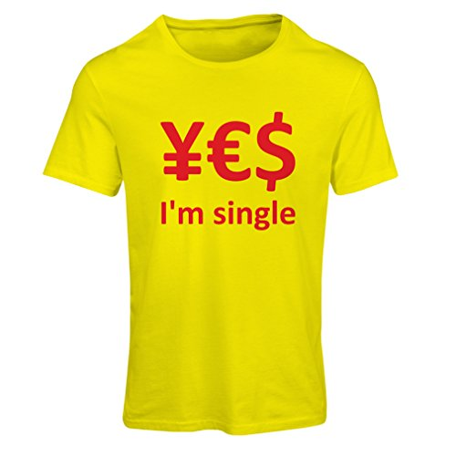 Frauen T-Shirt Yes, I\'m Single! (Large Gelb Rote)