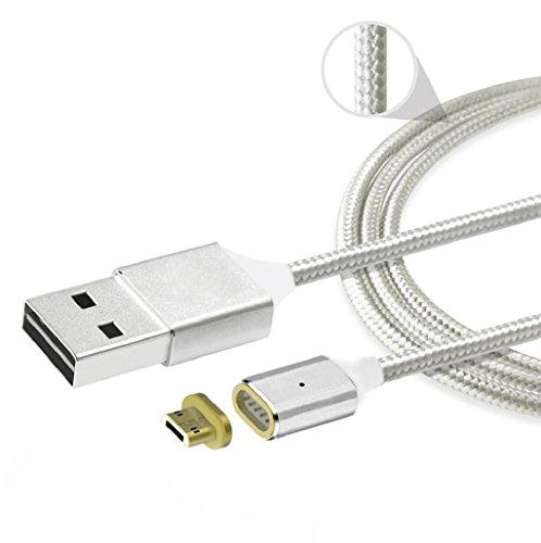 Sannysis 2.4 A Cable de datos de Cargador de adaptador magnético para Samsung para Android color plata
