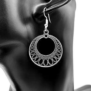 Ohrringe MOON | Edelstahl | rund | antik | versilbert | Hängeohrringe | hängend | Ohrhänger
