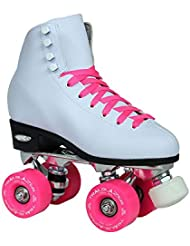 Nuevo. Epic Classic W/color rosa ruedas high-top Quad patines W/2 par de cordones (blanco y rosa)