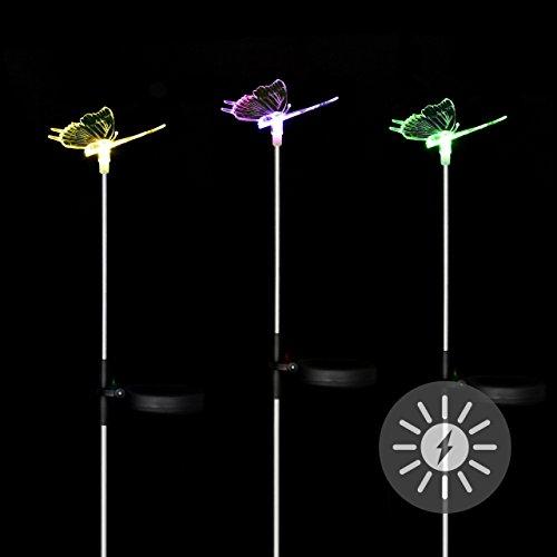 Nexos Solarlampe 3er Set Schmetterling LED Farbwechsel 80 cm Gartenbeleuchtung Dekoration Solar Leuchte Solarstecker Kunststoff Edelstahl 3farbig