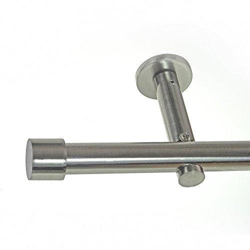 L/änge:120 cm BASIT Gardinenstange Set Edelstahl Look Metall /Ø 16mm zur Wandbefestigung 1-l/äufig Modern Kappe H12E16